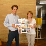 Conference hosts Olivier and Tanya show off a thank you gift from conference participants: Framed images of my collages from The Dinner in the City series!